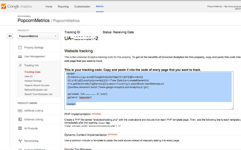 Screenshot code snippet Google Analytics javascript code snippet