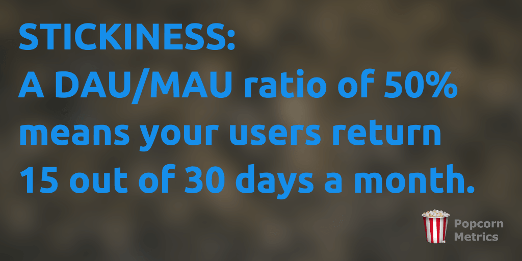 User Stickiness is the ratio of DAUs to MAUs.