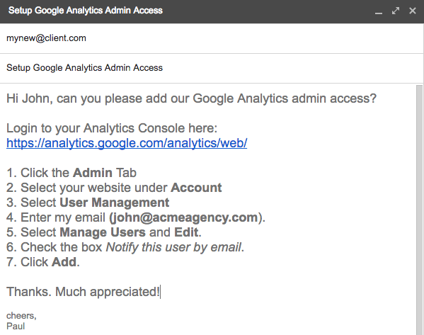 Hi John, can you please add our Google Analytics admin access?