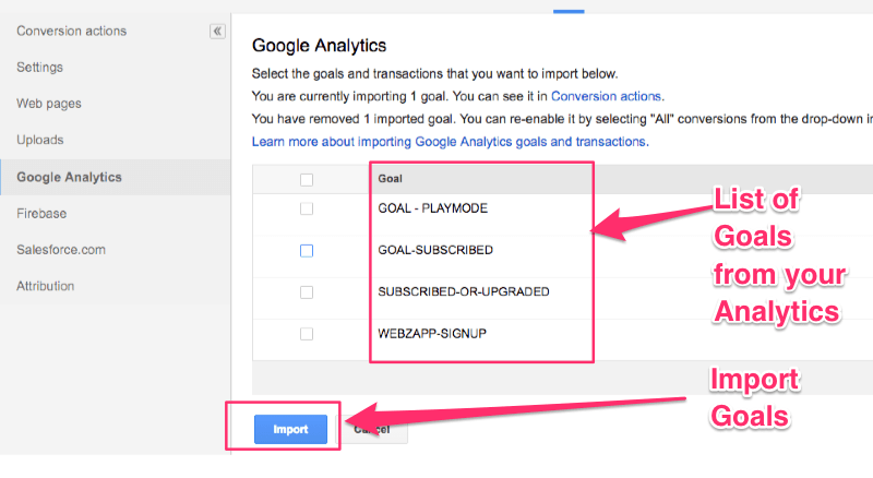 Click the Import button to import your Analytics Goals