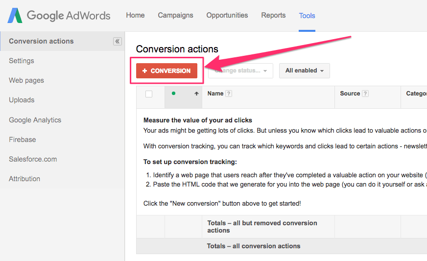How do I get my Google Adwords Conversion Tracking Code