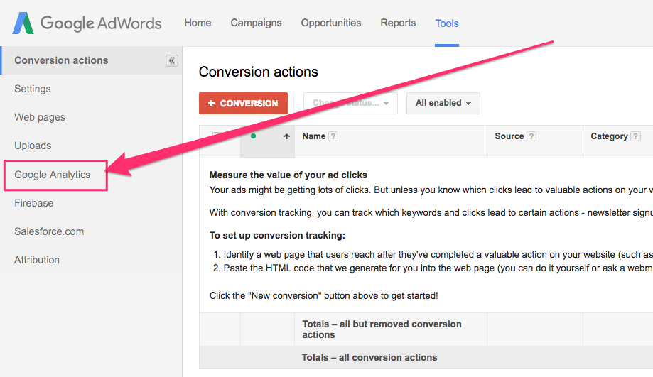 How to Import Google Analytics Goal Conversions into my Adwords Account