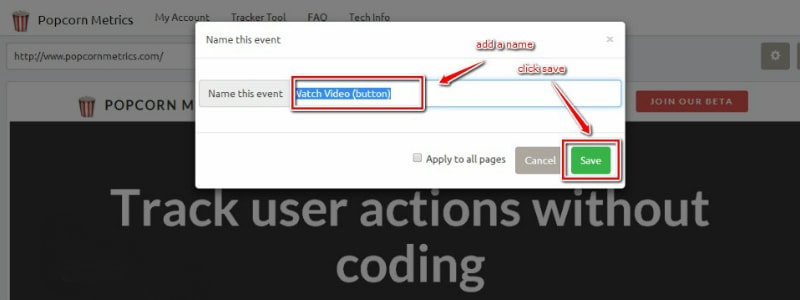 how to track website onclick events google analytics without coding