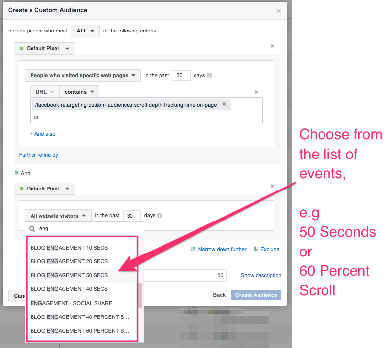 Scroll Depth and actual Page Time into Facebook Custom Audiences Ads Manager