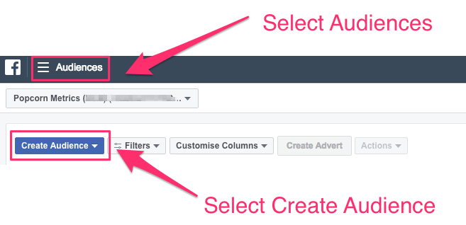 facebook retargeting custom audiences Create New Audience example