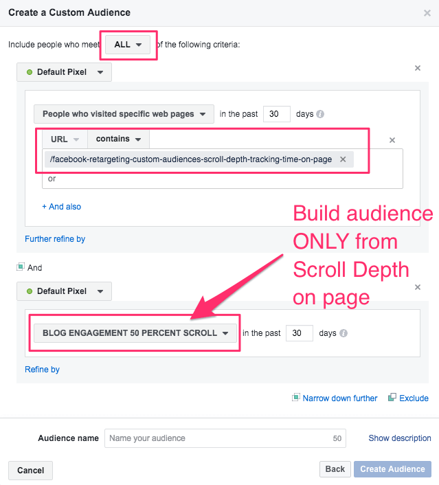 facebook retargeting custom audiences scroll depth tracking