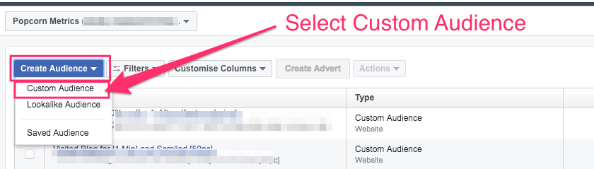 facebook retargeting custom audiences select Custom Audience example