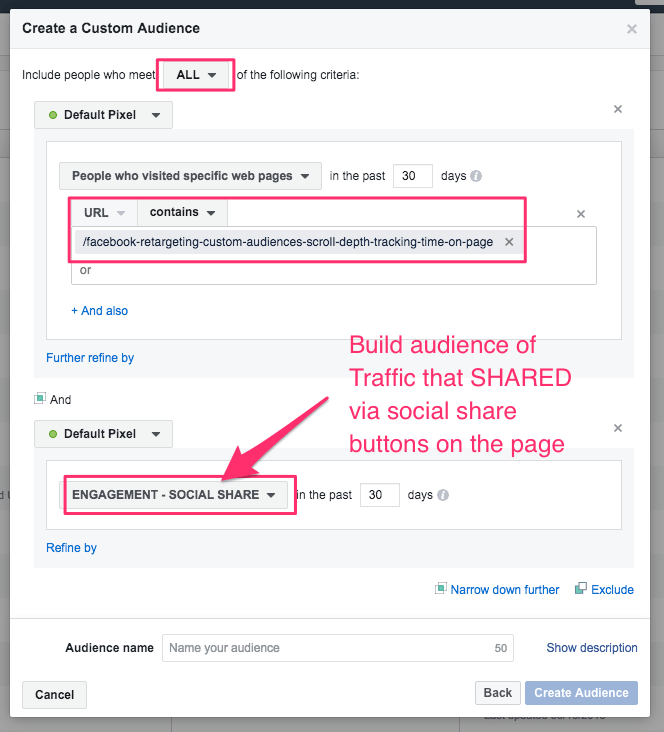 facebook retargeting custom audiences social share button example