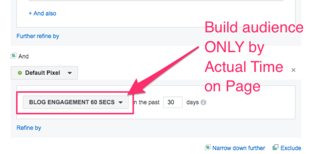 Facebook Ads Manager for creating audiences Actual Time on Page