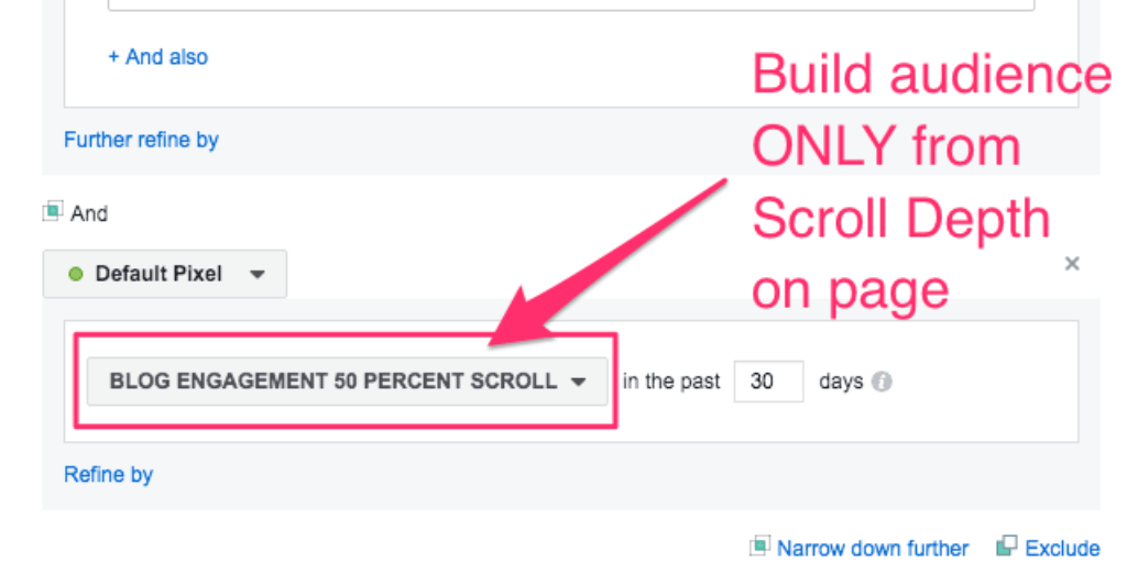 Facebook Ads Manager for creating audiences Scroll Depth Percent on Page