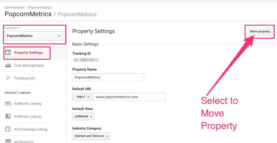 google analytics: how to transfer a property to a Client account